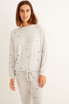 Womensecret Long grey star winter pyjamas grey