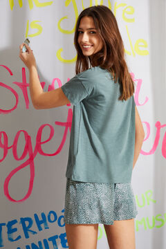 Womensecret Short green printed organic cotton pyjamas green
