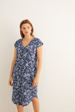 Womensecret Short-sleeved midi nightgown with floral print in blue blue