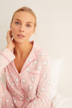 Womensecret Langer Pyjama Hemdlook Rosa Miffy Weiß