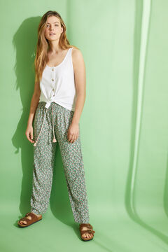 Womensecret Long floral print trousers green