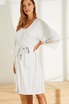 Womensecret Robe de chambre grise dentelle gris