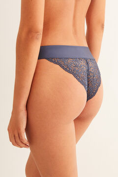 Womensecret blue lace and microfibre Brazilian panty. blue