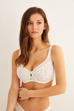 Womensecret Guipure lace reducer bra white