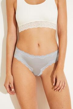 Womensecret Blue microfibre and lace wide side Brazilian panty blue