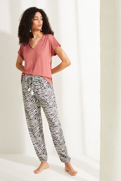 Womensecret Pantalon largo cebra blanco