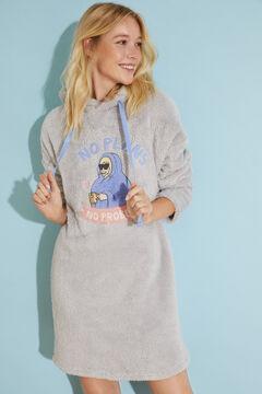 Womensecret Grey fluffy midi nightgown Moderna de Pueblo grey