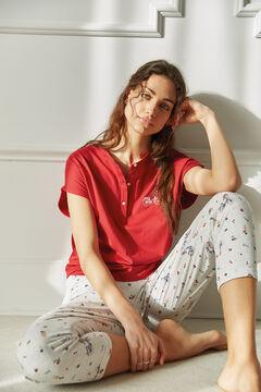 Womensecret Pijama largo algodón orgánico flores y bicicletas rojo