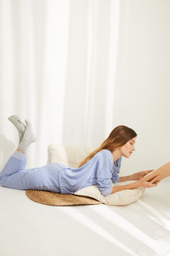 Womensecret Pyjama long double face bleu bleu