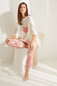 Womensecret Pyjama long velours cœur beige