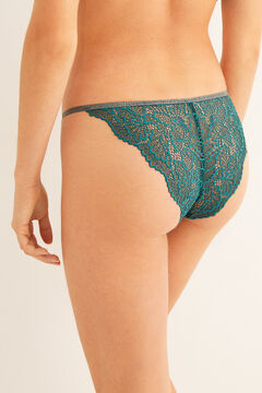 Womensecret Classic green lace strappy panty green