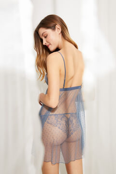 Womensecret Camisa de dormir curta plumetti detalhe renda azul azul
