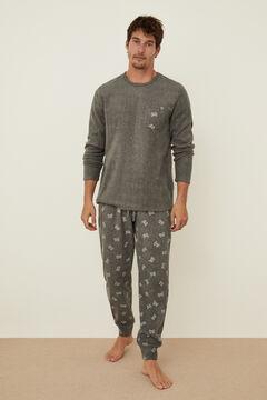 Womensecret Long grey fleece pyjamas  grey