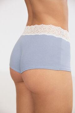 Womensecret Braguita algodón orgánico tipo bóxer encaje azul azul