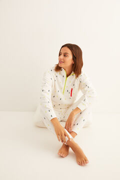 Womensecret Long fleece zipped pyjamas white