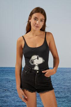 Womensecret Bañador Snoopy espalda cruzada negro