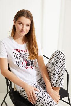 Womensecret Pijama largo algodón Cruella de Vil blanco blanco