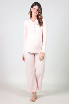 Womensecret Polo and comfortable wide maternity trouser set pink