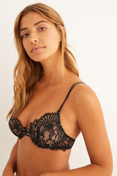 Womensecret Lace and mesh underwired bra black