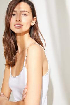 Womensecret Fehér biopamut hálóing-ruha fehér