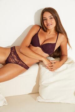 Womensecret Maroon lace push-up bra printed
