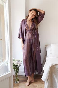 Womensecret Robe de chambre longue satin grenat imprimé