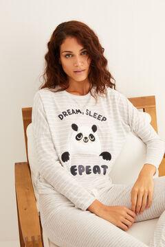 Womensecret Pandamintás, csíkos hosszú polárpizsama szürke
