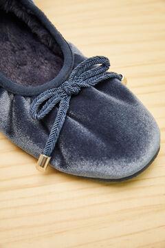 Womensecret Blue velour ballet flat slippers blue