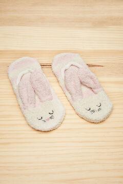 Womensecret Fluffy pink 3D bunny no-show socks pink
