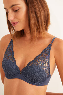 Womensecret blue lace and microfibre padded halterneck bra blue