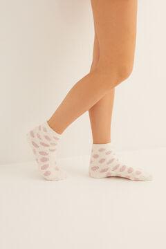 Womensecret Non-slip cosy ankle socks polka dots  pink