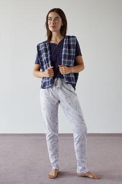 Womensecret Kurzes Henleyshirt Blau Baumwolle blue