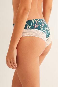 Womensecret Lace detail microfibre boyshort Brazilian panty green