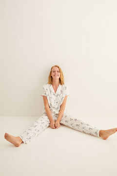 Womensecret Pyjama chemise long Snoopy manches courtes gris
