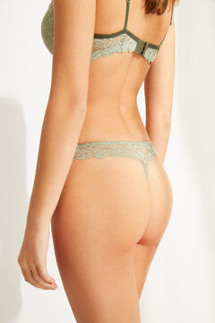 Womensecret Green lace thong beige