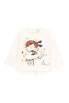 Womensecret Camiseta punto con guipur de bebé y niña blanco