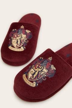 Womensecret Maroon velvet Gryffindor slingback slippers printed