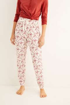Womensecret Long cotton pyjamas bottoms with print printed