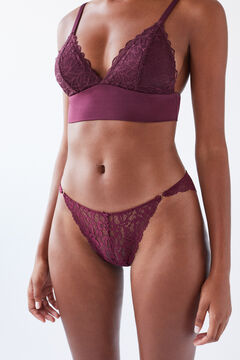 Womensecret Classic maroon lace panty printed