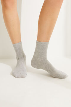 Womensecret Grey printed mid-length socks with lurex details grey
