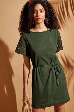 Womensecret Short-sleeved embroidered tunic with belt green