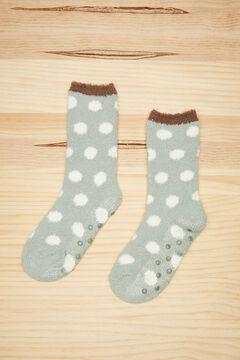 Womensecret Fluffy green polka-dot socks green
