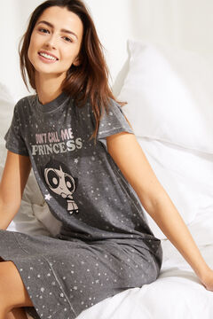 Womensecret Midi cotton Powerpuff Girls and stars nightgown grey