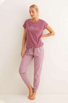 Womensecret Short-sleeved cotton pyjamas in maroon pink