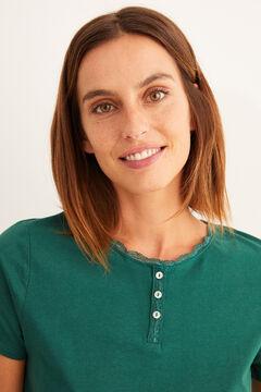 Womensecret Kurzes Henleyshirt Grün Grün