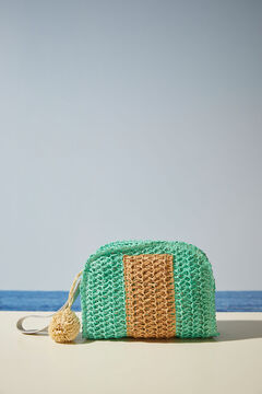 Womensecret Two-tone natural raffia handbag green