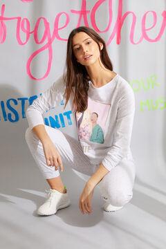 Womensecret Langer Pyjama Bio-Baumwolle Weiß Grau