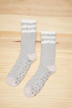 Womensecret Fluffy textured grey socks grey