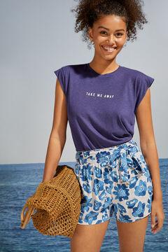 Womensecret Pantalon court imprimé tropical bleu bleu