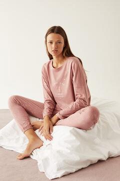 Womensecret Long pink pyjamas in 100% organic cotton. pink